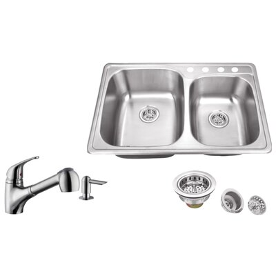 20 Gauge Stainless Steel 33.13 x 22 Double Basin Undermount Kitchen Sink with Low Profile Pull Out Faucet