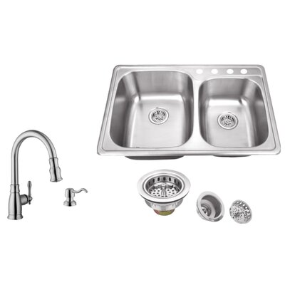 20 Gauge Stainless Steel 33.13 x 22 Double Basin Drop-In Kitchen Sink with Arc Faucet