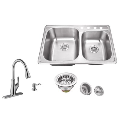 20 Gauge Stainless Steel 33.13 x 22 Double Basin Undermount Kitchen Sink with Gooseneck Faucet