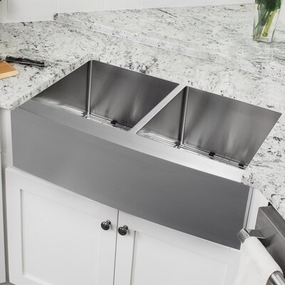 16 Gauge Stainless Steel 32.88 x 20.75 Double Basin Farmhouse/Apron Kitchen Sink with Grid Set and Drain Assembly