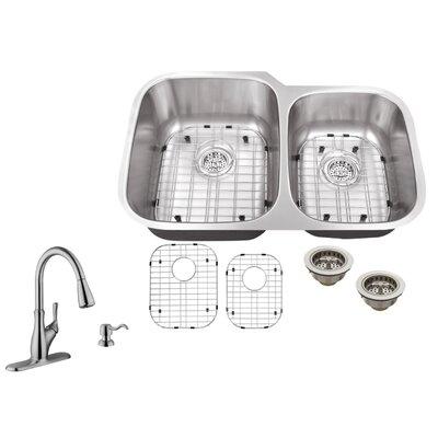 18 Gauge Stainless Steel 32 x 20.75 Double Basin Undermount Kitchen Sink with Gooseneck Faucet