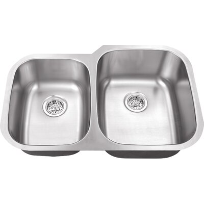 18 Gauge Stainless Steel 32 x 20.75 Double Basin Undermount Kitchen Sink