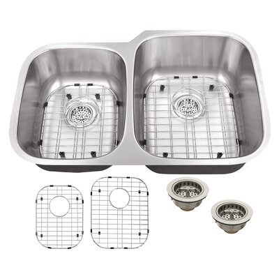 18 Gauge Stainless Steel 32 x 20.75 Double Basin Undermount Kitchen Sink with Grid Set and Drain Assembly