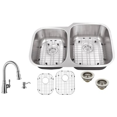 18 Gauge Stainless Steel 32 x 20.75 Double Basin Undermount Kitchen Sink with Arc Faucet