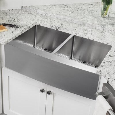 16 Gauge Stainless Steel 32.88 x 20.75 Double Basin Farmhouse/Apron Kitchen Sink with Pull Out Faucet and Soap Dispenser