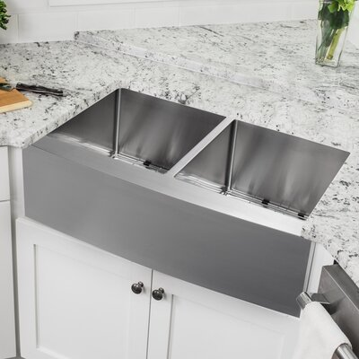 16 Gauge Stainless Steel 32.88 x 20.75 Double Basin Farmhouse/Apron Kitchen Sink with Gooseneck Faucet
