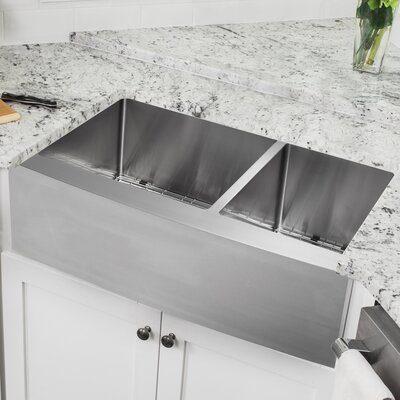 16 Gauge Stainless Steel 32.88 x 20.75 Double Basin Farmhouse/Apron 60/40 Kitchen Sink with Low Profile Pull Out Faucet