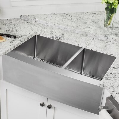16 Gauge Stainless Steel 32.88 x 20.75 Double Basin Farmhouse/Apron 60/40 Kitchen Sink with Pull Out Faucet and Soap Dispenser