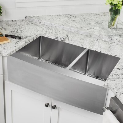 16 Gauge Stainless Steel 32.88 x 20.75 Double Basin Farmhouse/Apron 60/40 Kitchen Sink with Gooseneck Faucet
