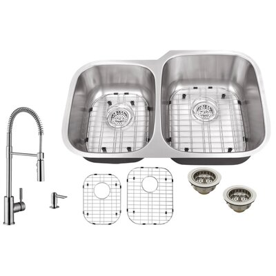 18 Gauge Stainless Steel 32 x 20.75 Double Basin Undermount Kitchen Sink with Pull Out Faucet and Soap Dispenser