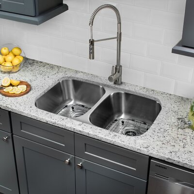 18 Gauge Stainless Steel 32.25 x 18.5 Double Basin Undermount Kitchen Sink with Pull Out Faucet and Soap Dispenser