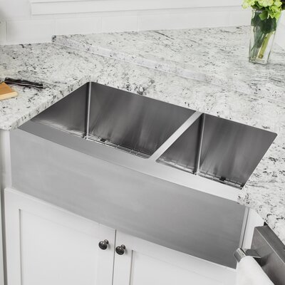 16 Gauge Stainless Steel 35.88 x 20.75 Double Basin Farmhouse/Apron 60/40 Kitchen Sink with Low Profile Pull Out Faucet