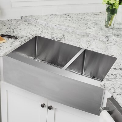 16 Gauge Stainless Steel 35.88 x 20.75 Double Basin Farmhouse/Apron 60/40 Kitchen Sink with Arc Faucet
