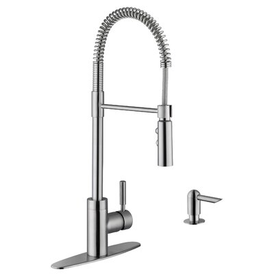 16 Gauge Stainless Steel 35.88 x 20.75 Double Basin Farmhouse/Apron 60/40 Kitchen Sink with Pull Out Faucet and Soap Dispenser