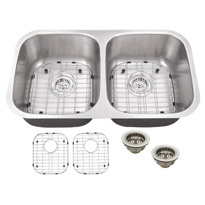 18 Gauge Stainless Steel 29.13 x 18.5 Double Basin Undermount Kitchen Sink with Twist and Lock Strainer