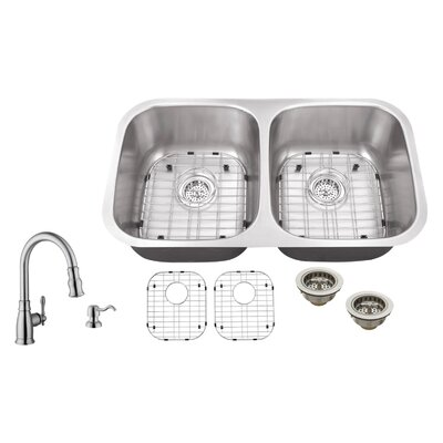18 Gauge Stainless Steel 29.13 x 18.5 Double Basin Undermount Kitchen Sink with Arc Faucet