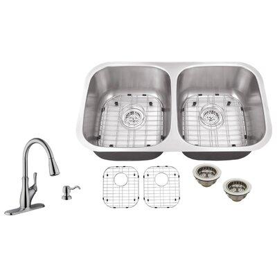 18 Gauge Stainless Steel 29.13 x 18.5 Double Basin Undermount Kitchen Sink with Gooseneck Faucet