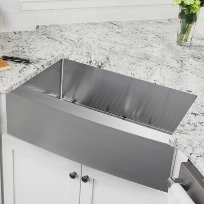 16 Gauge Stainless Steel 35.88 x 20.75 Farmhouse/Apron Kitchen Sink with Arc Faucet