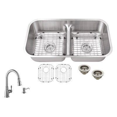 18 Gauge Stainless Steel 32.5 x 18.13 Double Basin Undermount Kitchen Sink with Arc Faucet