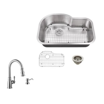 18 Gauge Stainless Steel 31.5 x 21.13 Undermount Kitchen Sink with Arc Faucet