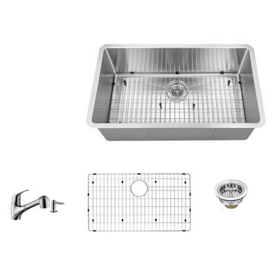 16 Gauge Stainless Steel 32 x 19 Undermount Kitchen Sink with Low Profile Pull Out Faucet
