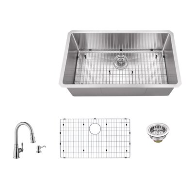 16 Gauge Stainless Steel 32 x 19 Undermount Kitchen Sink with Arc Faucet