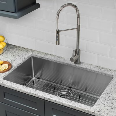 16 Gauge Stainless Steel 32 x 19 Undermount Kitchen Sink with Pull Out Faucet and Soap Dispenser