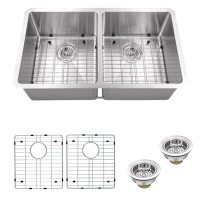 16 Gauge Stainless Steel 32 x 19 Double Basin Undermount 50/50 Kitchen Sink with Grid Set and Drain Assembly