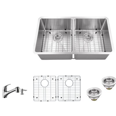 16 Gauge Stainless Steel 32 x 19 Double Basin Undermount 50/50 Kitchen Sink with Low Profile Pull Out Faucet