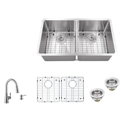 16 Gauge Stainless Steel 32 x 19 Double Basin Undermount 50/50 Kitchen Sink with Arc Faucet