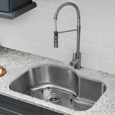 18 Gauge Stainless Steel 31.5 x 21.13 Undermount Kitchen Sink with Pull Out Faucet and Soap Dispenser
