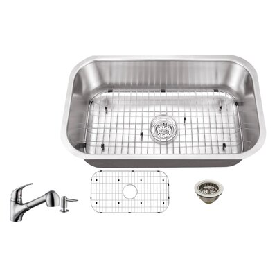 18 Gauge Stainless Steel 30 x 18 Undermount Kitchen Sink with Low Profile Pull Out Faucet