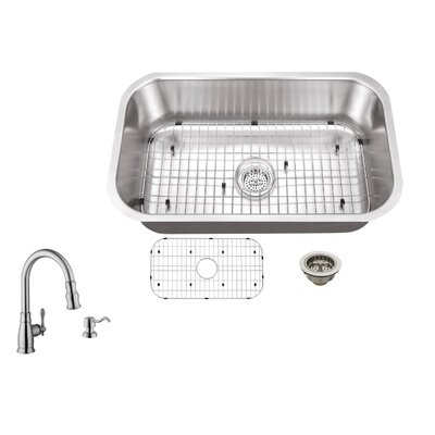 18 Gauge Stainless Steel 30 x 18 Undermount Kitchen Sink with Arc Faucet