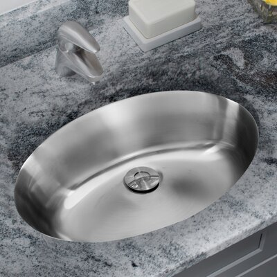 Stainless Steel Drop Lavatory Oval Undermount Bathroom Sink with Overflow