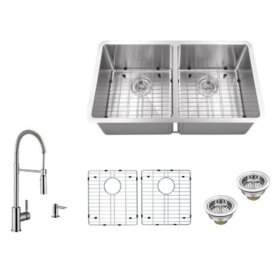 16 Gauge Stainless Steel 32 x 19 Double Basin Undermount 50/50 Kitchen Sink with Pull Out Faucet and Soap Dispenser