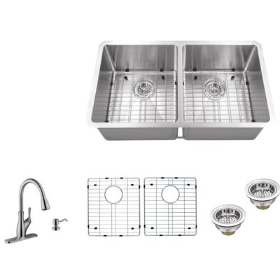 16 Gauge Stainless Steel 32 x 19 Double Basin Undermount 50/50 Kitchen Sink with Gooseneck Faucet