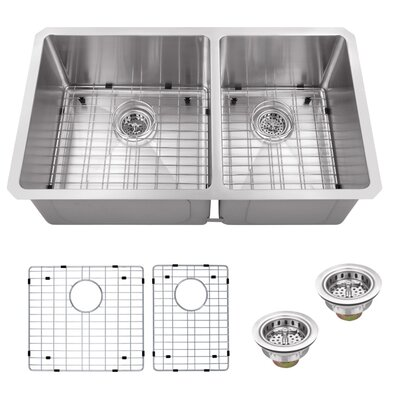 32 x 19 Double Basin Undermount 60/40 Kitchen Sink with Grid Set and Drain Assembly