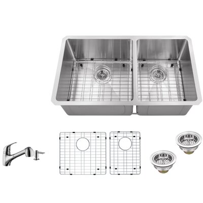 32 x 19 Double Basin Undermount 60/40 Kitchen Sink with Low Profile Pull Out Faucet