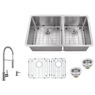 32 x 19 Double Basin Undermount 60/40 Kitchen Sink with Pull Out Faucet and Soap Dispenser