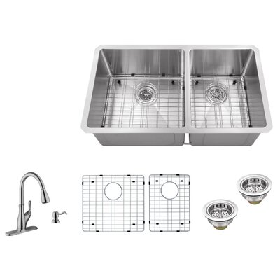 32 x 19 Double Basin Undermount 60/40 Kitchen Sink with Gooseneck Faucet