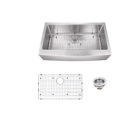 16 Gauge Stainless Steel 32.88 x 20.75 Farmhouse/Apron Kitchen Sink with Grid Set and Drain Assembly