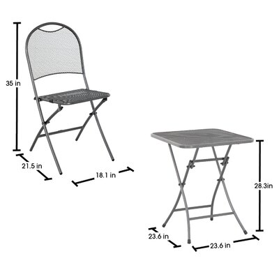 Denney 3 Piece Folding Bistro Set