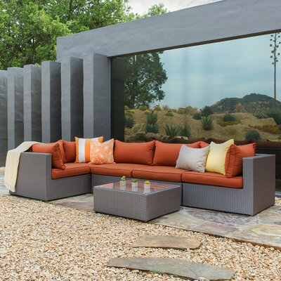 Nautica 6 Piece Patio Sectional Seating Group with Cushion