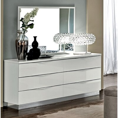 Edwards 6 Drawer Double Dresser with Mirror Color: White