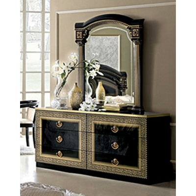 Albury 6 Drawer Double Dresser with Mirror Color: Black/Gold