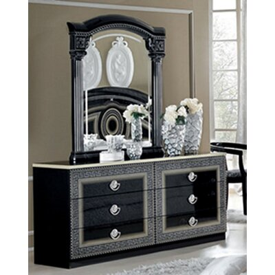 Albury 6 Drawer Double Dresser with Mirror Color: Black/Silver