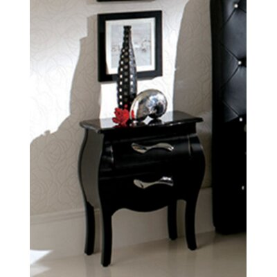 Amalia 2 Drawer Nightstand Finish: Black
