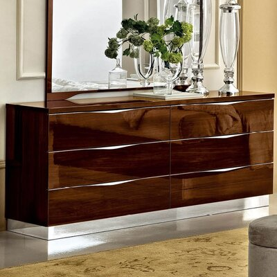 Edwards 6 Drawer Double Dresser Color: Walnut