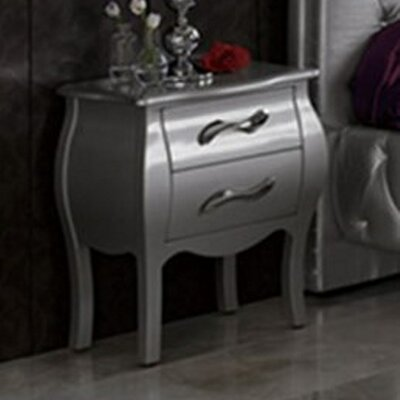Amalia 2 Drawer Nightstand Color: Silver