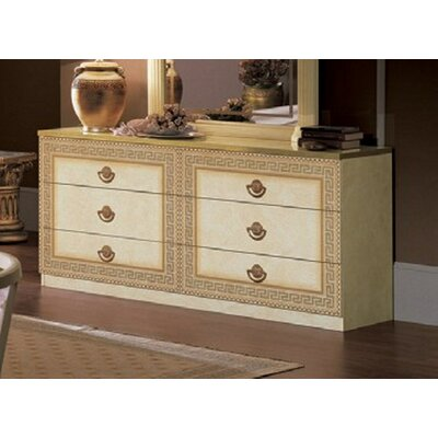 Stirling 6 Drawer Double Dresser Color: Ivory/Gold